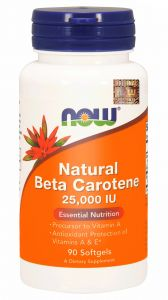 NOW Foods Naturalny BETA KAROTEN + wit. E 90 kaps
