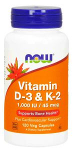 NOW Foods WITAMINA D3  K2 D-3 K-2 1000iu 45mcg 120 kaps