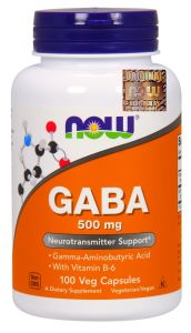 GABA 500mg 100k RELAKS SEN STRES wit B6 NOW Foods