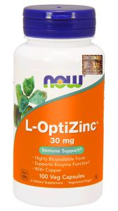 NOW Foods L-OptiZinc 30mg 100k CYNK I MIEDŹ
