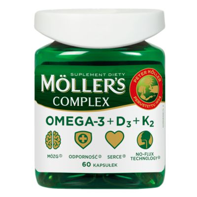 Moller's COMPLEX kwasy OMEGA-3 + WITAMINA D3+K2