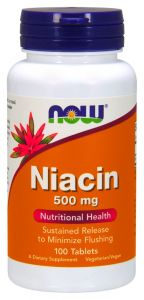 WITAMINA B3 500mg 100 NIACYNA PP niacin NOW FOODS