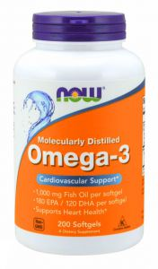NOW Foods OMEGA-3 omega 3 DHA EPA 1000mg 200 kaps