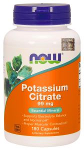 NOW Foods POTAS cytrynian potasu 99 mg 180 kaps