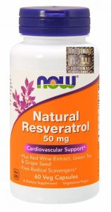 NATURAL RESVERATROL trans-resweratrol 60 kap NOW FOODS