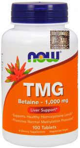 TMG  BETAINA trimetyloglicyna z buraka 1000mg 100tab  NOW FOODS