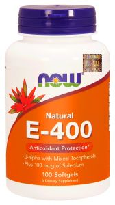 NOW Foods WITAMINA E 400 naturalna 400mcg MIX TOKOFEROLI   SELEN 100kap